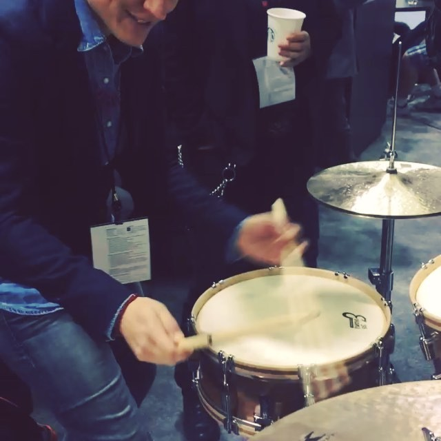 Fun at #namm! Loving #evansdrumheads new take on the vintage calf skin sound.  #evans56 look out!  They hit the market later this year.  #zildjiankerope