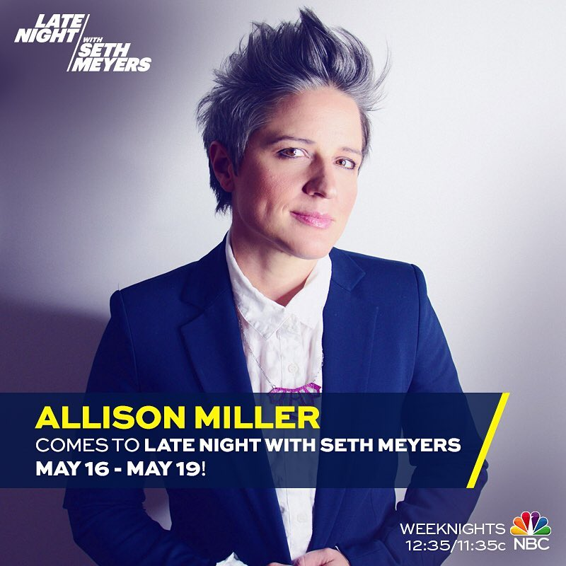 Tune in to #latenightsethmeyers next week.  I'll be guesting on the show all week.  Glad to be back!  #boomticboom