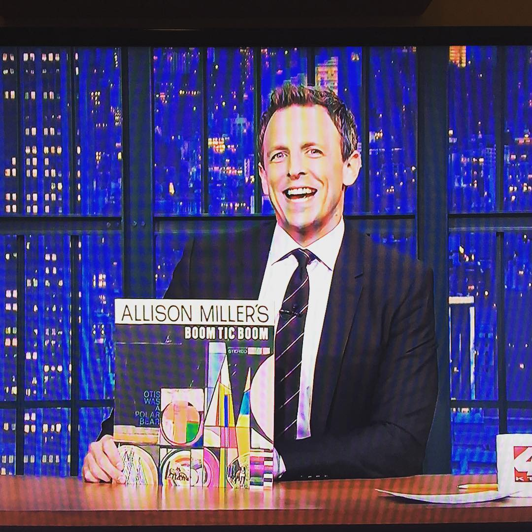 A big thanks to #latenightwithsethmeyers for plugging my new album, #otiswasapolarbear .I'm having a blast guesting with the #8gband all this week.  #boomticboom